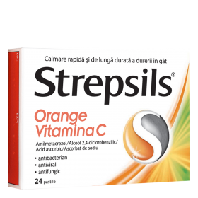 STREPSILS  R  ORANGE VITAMINA C x 24