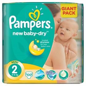 PAMPERS ACTIVE BABY NR 2 100 BUCATI 3-6 KG
