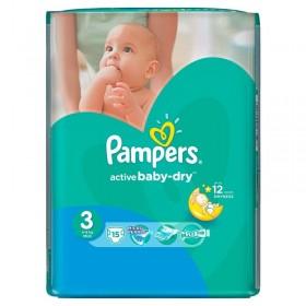 PAMPERS ACTIVE BABY NR 3 15 BUCATI 4-9 KG