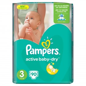 PAMPERS ACTIVE BABY NR 3 90 BUCATI 5-9 KG